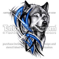 tribal tattoo stencils | TattooFinder.com : Blue Tribal Wolf tattoo design by Linz