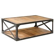 vintage industrial reclaimed wood metal coffee table cart