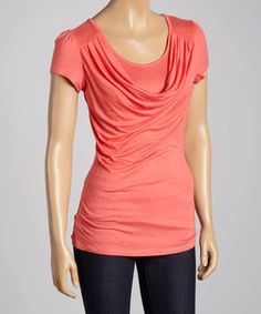 Another great find on #zulily! Coral Drape Neck Top by Celeste #zulilyfinds