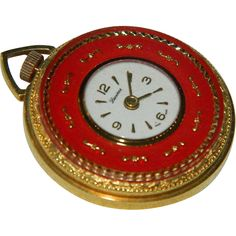 Lucerne Red Enamel Gold Plated Pendant Watch ~ Swiss Movement from abitofvintagefrosting on Ruby Lane