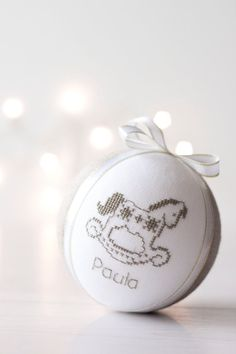 Keepsake Christmas ornament embroidered with cross by RedPin
