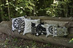 Black and ivory embroidery on linen. Handmade.