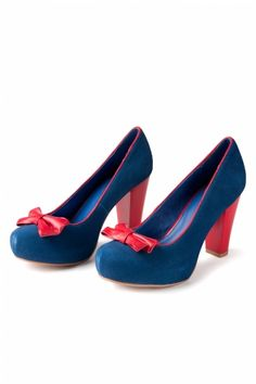 Lola Ramona - 50s Angie Bow Navy Red Suede platform pumps