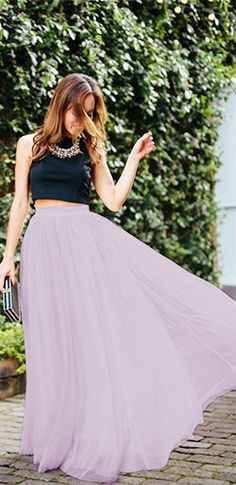 Princess For A Day Lavender Lilac Purple 7 Layer Pleated Elastic Waist Swiss Tulle Ball Gown Maxi Skirt