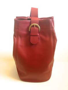 Vintage Coach Purse 4160 Red Glove Leather Sling Bucket Shoulder Hobo Bag  USA  Coach   c9659371e85f7