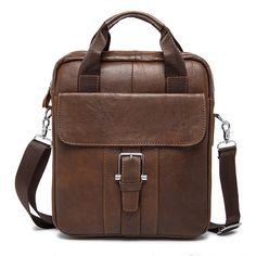 Men Genuine Leather Crossboby Bag Vintage Business Briefcase Dual Use Handbag