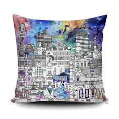 Industrial Manchester Soft and Snuggly Cushion Manchester Art, Whiskey Gifts, Colourful Cushions, Christmas Gifts For Her, Gifts For Father, Gift For Lover, Soft Fabrics, How To Draw Hands, Skyline