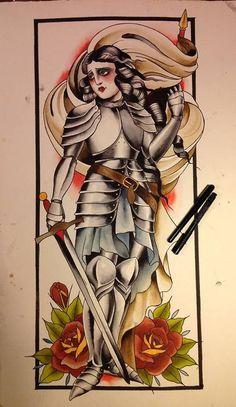 Joan of Arc Traditional Tattoo Art ......Alix Ge