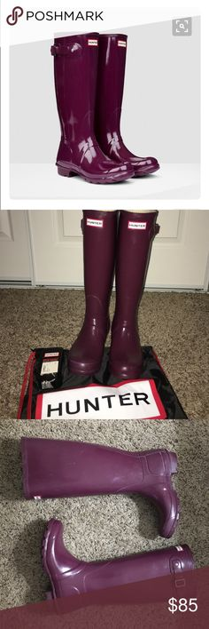Hunter boots Used total of 5 times, bought from Nordstrom. Needs buffing, Buffing Sponge included. No box Hunter Boots Shoes Winter & Rain Boots