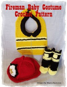 Hey, I found this really awesome Etsy listing at https://www.etsy.com/listing/150519637/fireman-baby-bib-hat-and-bootie-crochet