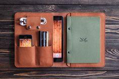 Leather iPad Case Folio / Leather iPad Mini Case Sleeve / Custom Leather iPad Mini Organizer / iPad Mini Leather Folio Organizer iPad and organizer document. iPad mini brown folio color in leather.