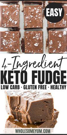 Dec 2019 - Easy Keto Fudge Recipe with Cocoa Powder - 4 Ingredients- This easy keto fudge recipe needs just 4 ingredients and 10 minutes prep! And, making keto fudge with cocoa powder and sea salt is super easy. Fudge Recipe With Cocoa, Cocoa Powder Fudge Recipe, Cocoa Powder Recipes, Keto Friendly Desserts, Low Carb Desserts, Low Carb Recipes, Healthy Recipes, Healthy Lunches, Fudge Recipes