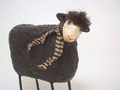 Primitive Paper Mache Folk Art Black Sheep by papiermoonprimitives, $38.00