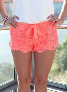 Coral Crochet Shorts with Draw String Ribbon Front<br/><div class='zoom-vendor-name'>By <a href=http://www.ustrendy.com/Xenia>Xenia</a></div>