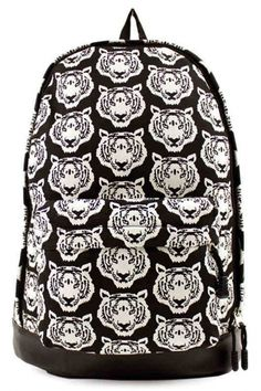 Black Graphic Tiger Head Print Canvas Backpack