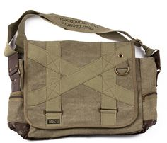 B50 Messenger Bag // $38 // Canvas and leather. I like the straps sewn in to the surface. It feels detailed and sturdy but tight. Good color.