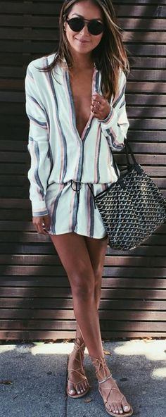 #sincerelyjules #spring #summer #besties |Striped Shirt Dress + Lace up Sandals