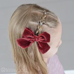 "23 Likes, 3 Comments - Tessi | Q's Hairdos (@teswood) on Instagram: ""Flips with braids! This beautiful velvet bow is from @labellebaby! #qshairdos"""
