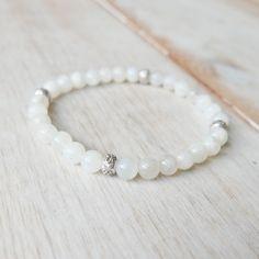 Moonstone Om Mala Bracelet w/Hill Tribe Silver beads