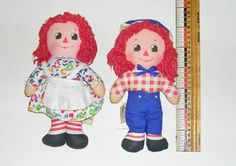 """Vintage Rare 6"""" Knickerbocker Raggedy Ann & Andy Dolls Made for Hallmark Cards #DollswithClothingAccessories"""