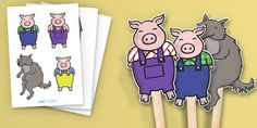 The Three Little Pigs Stick Puppets - Three little pigs, stick puppets, traditional tales, tale, fairy tale, pigs, wolf, straw house, wood house, brick house, huff and puff, chinny chin chin