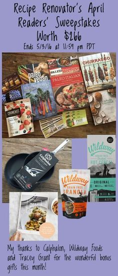fun giveaway reciperenovator featuring paleo cookbooks calphalon omelet pans and more