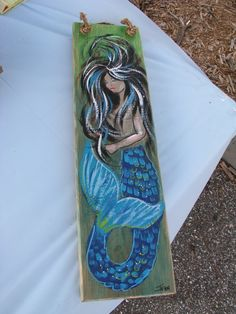 Mermaid painting on wood - Mermaid Art - Mermaid Plaque - bright colors - custom painting - bold - m Mermaid Artwork, Mermaid Drawings, Mermaid Paintings, Fantasy Mermaids, Mermaids And Mermen, Real Mermaids, Mermaid Crafts, Ceramic Mosaic Tile, Vintage Mermaid