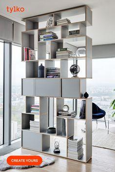 Scandinavian Style, Scandinavian Bookshelves, Grey Bookshelves, Modern Bookcase, Bookshelf Room Divider, Furniture Showroom, Plywood Furniture, New Furniture, Furniture Design