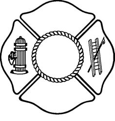 firefighter-hat-coloring-page-criss-crossed-fireman-hatchets ... - Firefighter Badges Coloring Pages