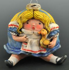 Vintage Style Collectible Alice in Wonderland Ornament by Doreen Kassel