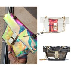 Designer Transparent women messenger bag Purse Shoulder bag with hologram inner bag