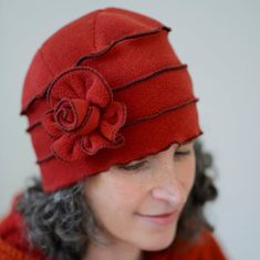 Ladies+Flapper+Cloche++Polar+Fleece++Paprika++Annique+by+hatjunkie,+$65.00