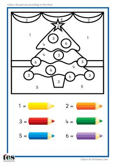 Simple colour by numbers Christmas pictures with clear visuals. Each uses 6 colo. - Simple colour by numbers Christmas pictures with clear visuals. Each uses 6 colours. Christmas Worksheets, Christmas Math, Christmas Activities For Kids, Preschool Christmas, Thanksgiving Activities, Xmas, Colorful Christmas Tree, Christmas Colors, Christmas Themes