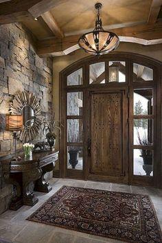 Beautiful Rustic Entryway Decor Ideas - Rustic Home Decor Rustic Entryway, Entryway Decor, Rustic Decor, Entryway Ideas, Entrance Ideas, Tuscan Decor, Cabin Homes, Log Homes, Foyer Decorating