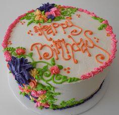 buttercream flowers  www.cupcakekitschen.com grandma cake birthday