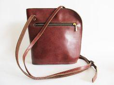 70s  Vintage  Brown  Genuine  Leather  by funkyvintage780 on Etsy