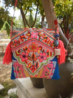 Tribal Hmong Bag Made With Upcycled Hmong Hilltribe Vintage Textile. Embroidery  BagsBig ... 366b6a3585b9d