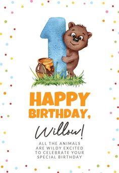 1st Birthday Bear - Happy Birthday Card #greetingcards #printable #diy #birthday
