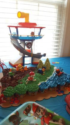 Paw patrol cupcake cake and lookout tower