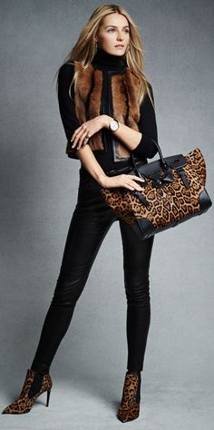 Ralph Lauren Stretch Leather Abbey Pant ● Leopard Haircalf Bootie ● Leopard Soft Ricky Bag