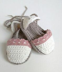 Alpargatas de crochet para bebés. 100% algodón.