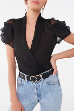 A sheer woven bodysuit featuring a surplice neckline with lapels, short puff sleeves with pleated detail, a cheeky cut, and dual snap-button bottom closures. - Layering garments not included. Modern Filipiniana Gown, Pop Fashion, Womens Fashion, Bodysuit Fashion, Sporty Outfits, Lace Bodysuit, Blouse Designs, Latest Trends, Fashion Dresses