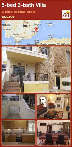 Villa for Sale in El Raso, Alicante, Spain with 5 bedrooms, 3 bathrooms - A Spanish Life Alicante, Double Bedroom, Open Plan Living, Large Homes, Holiday Destinations, Sunroom, Game Room, Master Suite, Living Area