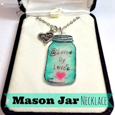 How to make a mason jar shrink plastic necklace and 50+ Shrink film crafts @savedbyloves
