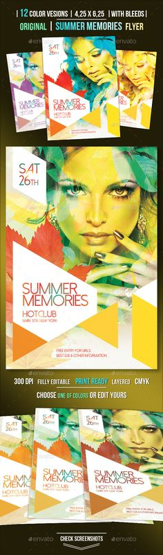 Buy Summer Memories Party Flyer by OrANGEL on GraphicRiver. Summer Memories Party Flyer perfect for any occasion. Use it for any party, event, fest, party or open air. Flyer And Poster Design, Travel Brochure, Summer Memories, Party Flyer, Clean Design, 2 Colours, Flyer Template, Flyers, Fonts