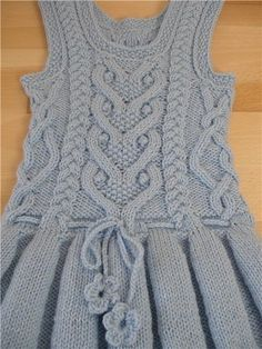 Warm sundress with folds for the girl (Knitting by spokes) Easy Knitting Patterns, Knitting For Kids, Baby Knitting, Girls Knitted Dress, Knit Baby Dress, Gilet Crochet, Knit Crochet, Baby Sweaters, Knitwear
