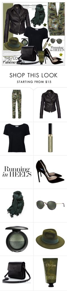 """I Love To Being Green"" by biange ❤ liked on Polyvore featuring Jean-Paul Gaultier, Barbour International, Frame, Max Factor, Manolo Blahnik, Ray-Ban, MAC Cosmetics, Larose and Olivina"