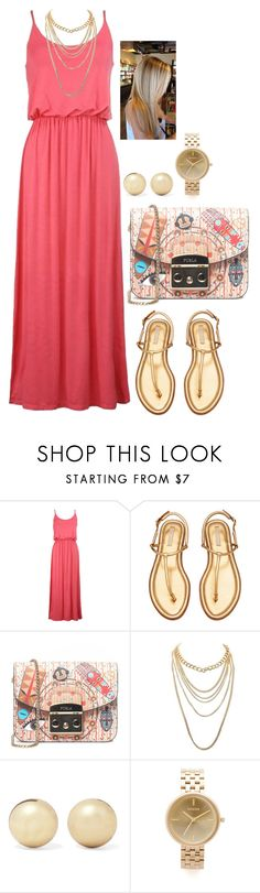 """""""Bez naslova #268"""" by chris-383 ❤ liked on Polyvore featuring Furla, Charlotte Russe, Kenneth Jay Lane and Nixon"""