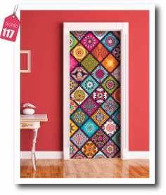 Painted Bedroom Doors, Painted Doors, Door Murals, Mural Art, Ethnic Decor, Bohemian Decor, Diy Interior Doors, Interior Modern, Home Design Living Room