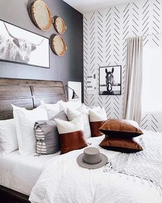 Home Decor Bedroom, Master Bedroom, Decorating Walls In Bedroom, Bedroom Ideas, Herringbone Wall, Herringbone Pattern, Accent Wall Bedroom, White Bedroom Walls, Style Deco
